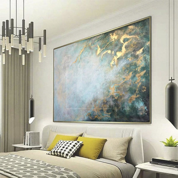 Large Unique Abstract Painting Modern Gold Leaf Painting Abstract Acrylic Paintings On Canvas | MIND OF ETERNITY - Trend Gallery Art | Original Abstract Paintings