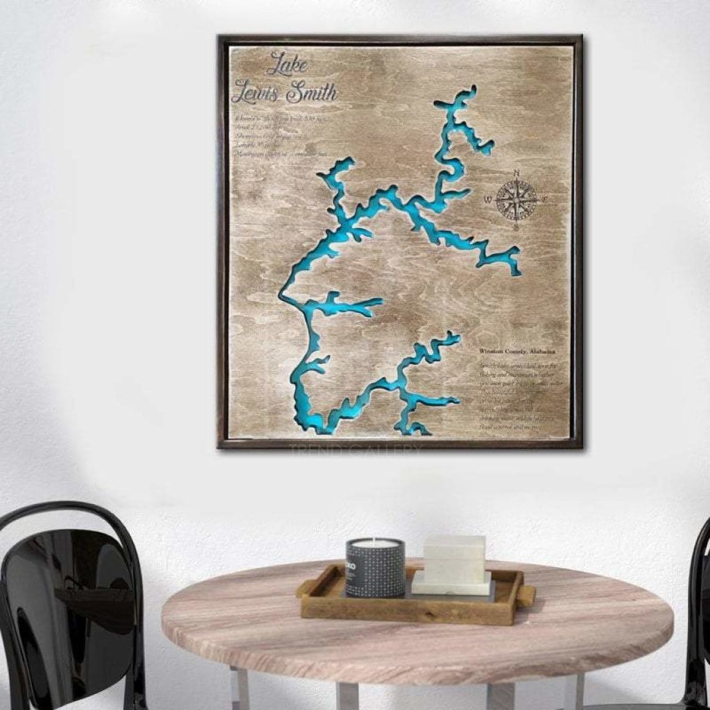 Lewis Smith Lake Wall Art Solid Wood Gift Wall Hanging Map Wooden Fram Trend Gallery Art Original Abstract Paintings