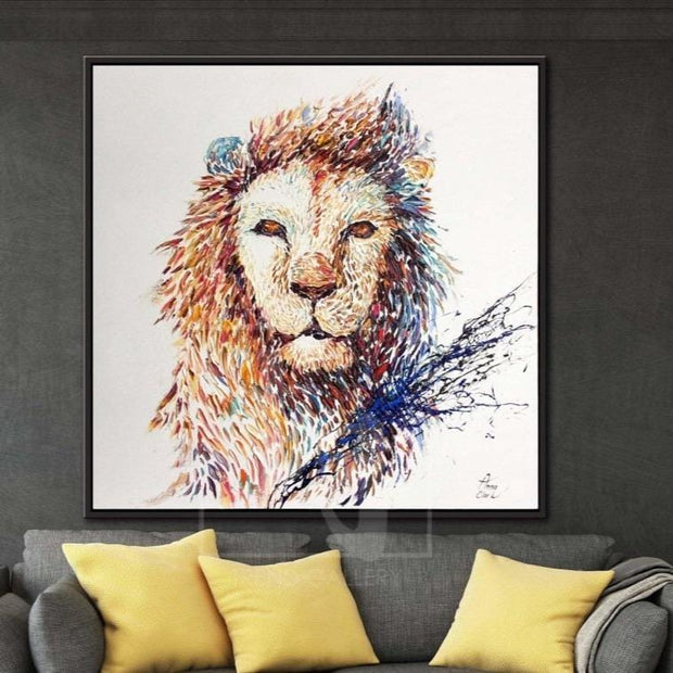 Lion Canvas Painting Extra Large Painting Oil Art On Canvas Abstract Lion Artwork | JUSTICE AND BRAVERY - Trend Gallery Art | Original Abstract Paintings