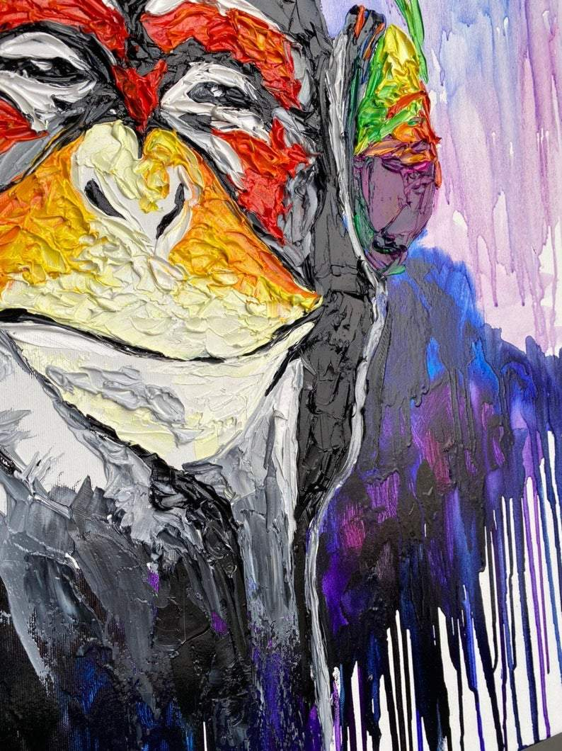 Large Monkey Painting On Canvas Monkey In Headset Oil Painting Your Trend Gallery Art Original Abstract Paintings
