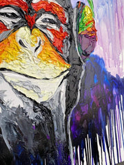 Large Monkey Painting On Canvas Monkey In Headset Oil Painting | YOUR VIBE - Trend Gallery Art | Original Abstract Paintings