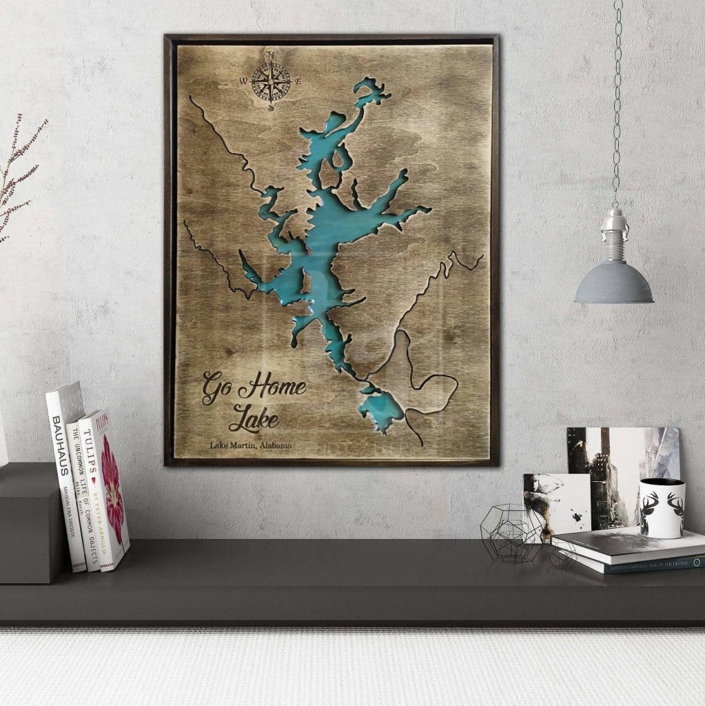 Martin Lake Map Wooden Framed Art Martin Lake Wall Art Solid Wood Gift Trend Gallery Art Original Abstract Paintings