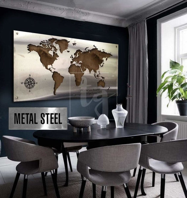 Matte Metal World Map Large Metal World Map Wedding Sign Guest Sign Stainless Steel World Map Unique Metal World Map Matte Metal Map