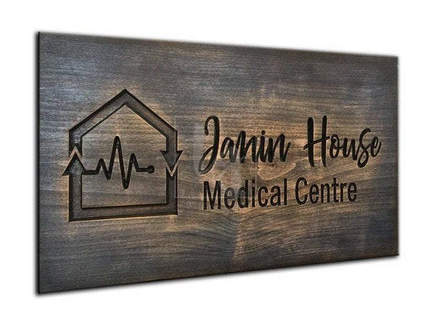 Medical Centre Signboard Customized Logo Print on Wood Medical Office Decor Medical Logo Design Custom Business Logo Doctor Gift Nurce Gift | WOOD DECOR# 28 - Trend Gallery Art | Original Abstract Paintings
