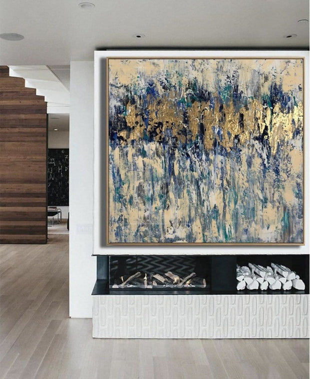 Modern Gold Leaf Painting Large Blue Abstract Painting Creative Painting | TRUE MAGIC - Trend Gallery Art | Original Abstract Paintings