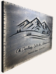 Mountain Wall Art Customized Gift Memorial Signboard Gift for Her Wedding Sign Guest Sign Carved Mountain Wall Decor Engraved On Wood Sign | WOOD DECOR# 31 - Trend Gallery Art | Original Abstract Paintings