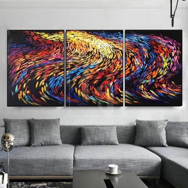 Nine Tails Painting Fox Tail Painting Abstract Painting Set Of 3 Abstract Painting | NINE TAIL FOX - Trend Gallery Art | Original Abstract Paintings