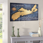 Nova Scotia Wall Art Custom Sign New Scotland Wall Art Wall Hanging Decor Custom Gift Gold Blue Wall Art Carved Wood Art Office Decor | WOOD DECOR# 36 - Trend Gallery Art | Original Abstract Paintings