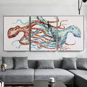 Octopus Painting Set Of 3 Abstract Paintings On Canvas Triptych Octopus Artwork | RECIPROCITY - Trend Gallery Art | Original Abstract Paintings