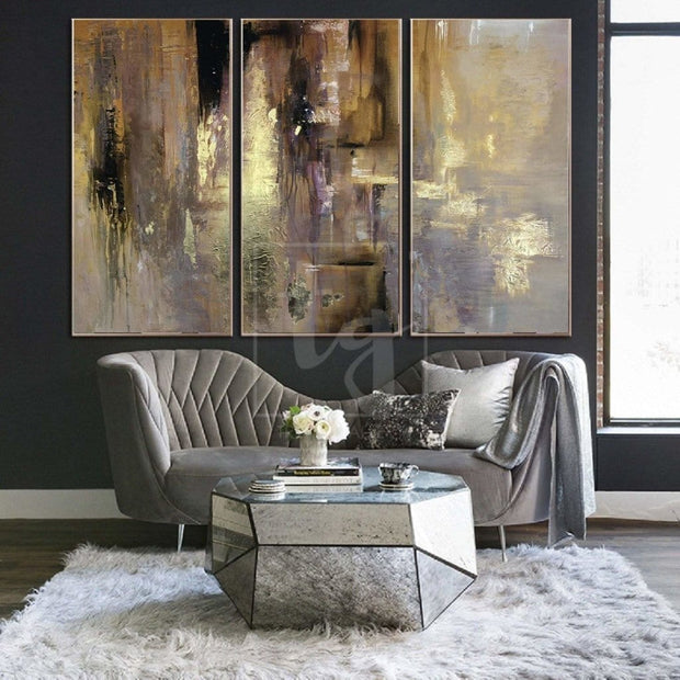 Oil Paint Canvas Set Triptych Painting Gold Leaf Diamond Painting Custom Paintings On Canvas Hand Art | RADIANCE OF ETERNITY - Trend Gallery Art | Original Abstract Paintings