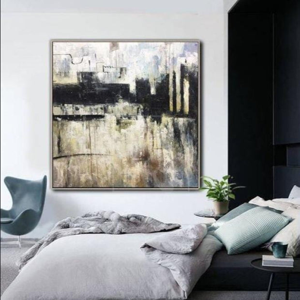 Original Abstract Art Black And White Contemporary Art Painting Acrylic On Canvas | SEAPORT - Trend Gallery Art | Original Abstract Paintings