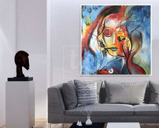 Original Abstract Painting Colorful Painting Face Abstract Art Painting Abstract Oil Canvas Painting | INTUITION - Trend Gallery Art | Original Abstract Paintings