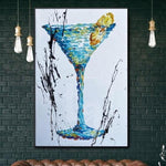 Original Cocktail Painting Cocktail Abstract Modern Artwork Creative Abstract Painting | BLUE CURACAO
