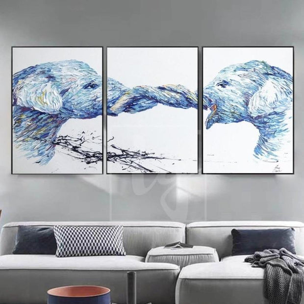 Original Elephant Painting Set Of 3 Elephant Painting Triptych Elephant Artwork | FRIENDSHIP - Trend Gallery Art | Original Abstract Paintings