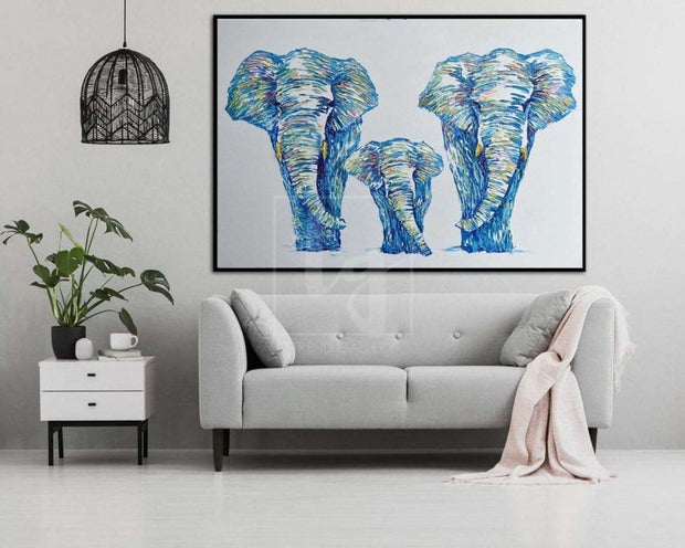Original Elephants Abstract Paintig Elephant Family Artwork Animals Abstract Painting Contemporary Elephant Painting | WAY HOME - Trend Gallery Art | Original Abstract Paintings