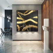 Original Gold Leaf Painting Contemporary Abstract Painting Abstract Modern Painting | GOLDEN THREADS OF FATE - Trend Gallery Art | Original Abstract Paintings