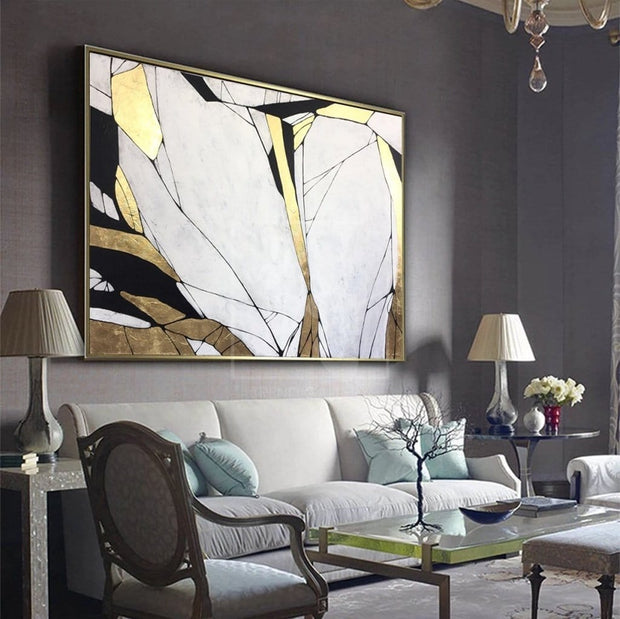 Original Gold Leaf Painting Gray Painting Acrylic Painting On Canvas | STONE BLOOM - Trend Gallery Art | Original Abstract Paintings