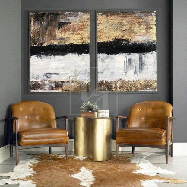 Original Gold Leaf Paintings On Canvas Diptych Artwork Large Abstract Set Of 2 Painting | VISION OF PERFECTION - Trend Gallery Art | Original Abstract Paintings