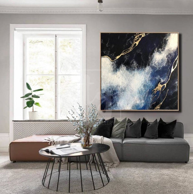 Original Large Painting On Canvas Modern Wall Painting For Living Room Gold Leaf Painting | NATURE ELEMENTS - Trend Gallery Art | Original Abstract Paintings