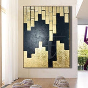 Original Modern Painting Large Abstract Artwork Golden Leaf Acrylic Paintings On Canvas Abstract Wall Paintings On Canvas | IDYll COMBINATION - Trend Gallery Art | Original Abstract Paintings