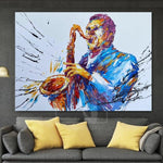Original Saxophone Player Paintings On Canvas Modern Saxophone Player Artwork | JAZZ MUSIC