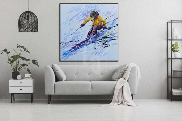 Original Snowboarder Painting Snowboarder Art Large Snowboarder Abstract Painting | RAPID DESCENT - Trend Gallery Art | Original Abstract Paintings