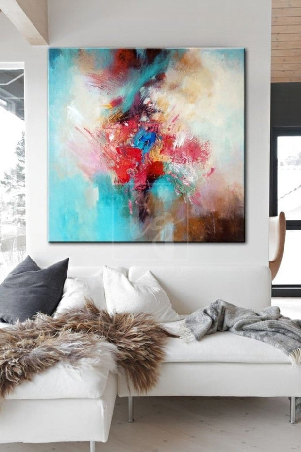 Painting Original Colorful Abstract Painting Thick Colorful Oil Large Abstract Canvas Art | FIREWORKS - Trend Gallery Art | Original Abstract Paintings