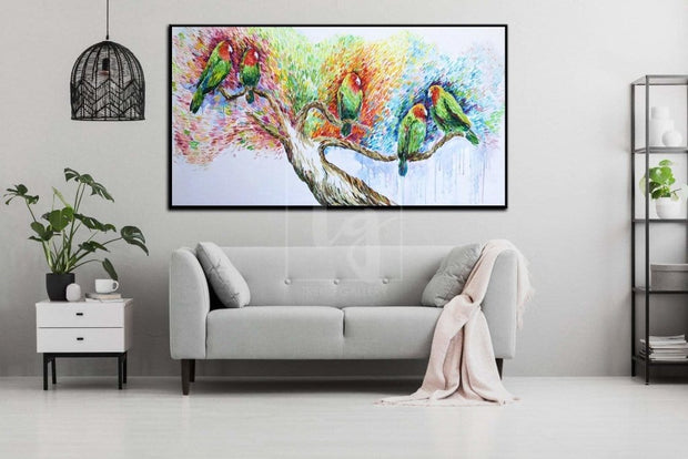 Parrot art Parrot painting Lovebird painting Bird lovers gift | MEETING - Trend Gallery Art | Original Abstract Paintings