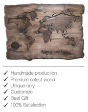 Personalized Gift World Map Engraving Decor Engrave Wood Wooden Wall Art Wood Burning Art World Map Wall Art Custom Sign Wood Wall Hanging | WOOD DECOR# 37 - Trend Gallery Art | Original Abstract Paintings