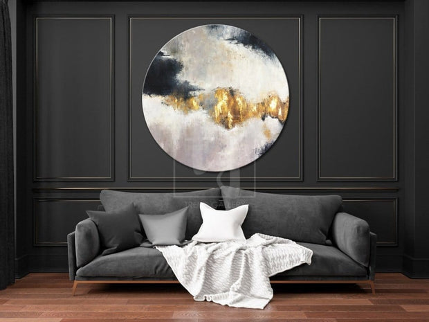 Round Abstract Painting Original Oversized Painting Gold Leaf Painting | FETTERS OF THE SOUL - Trend Gallery Art | Original Abstract Paintings