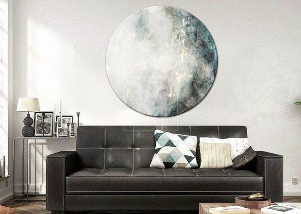 Round Large Abstract Gray Painting Canvas Art Abstract Heavy Texture Painting | WATERFALL - Trend Gallery Art | Original Abstract Paintings