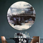 Round Large Oil Painting Abstract Gray Painting Abstract Painting Black Contemporary | WATER REFLECTION - Trend Gallery Art | Original Abstract Paintings