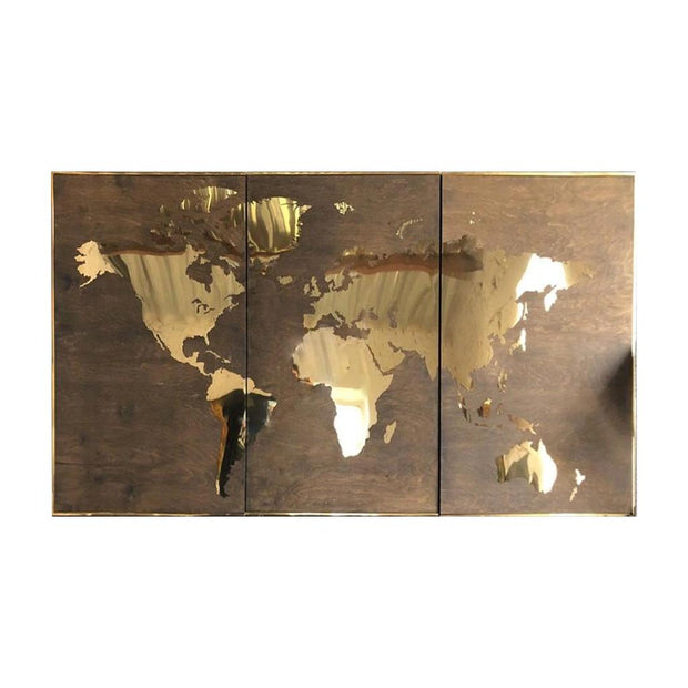 Gold Metal World Map Stainless Steel World Map Golden Wood Map of The World Brass Metal Wood Map Wall Hanging| WOOD DECOR# 17 - Trend Gallery Art | Original Abstract Paintings