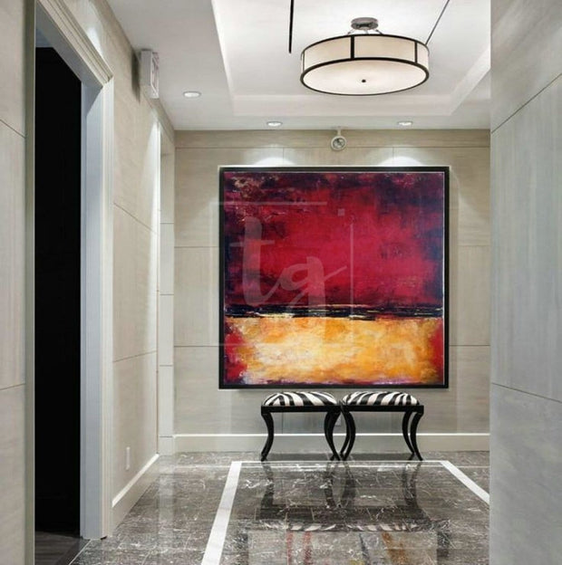Scenic Abstract Landscape Painting in Ochre and Dark Red | RED SUNSET - Trend Gallery Art | Original Abstract Paintings
