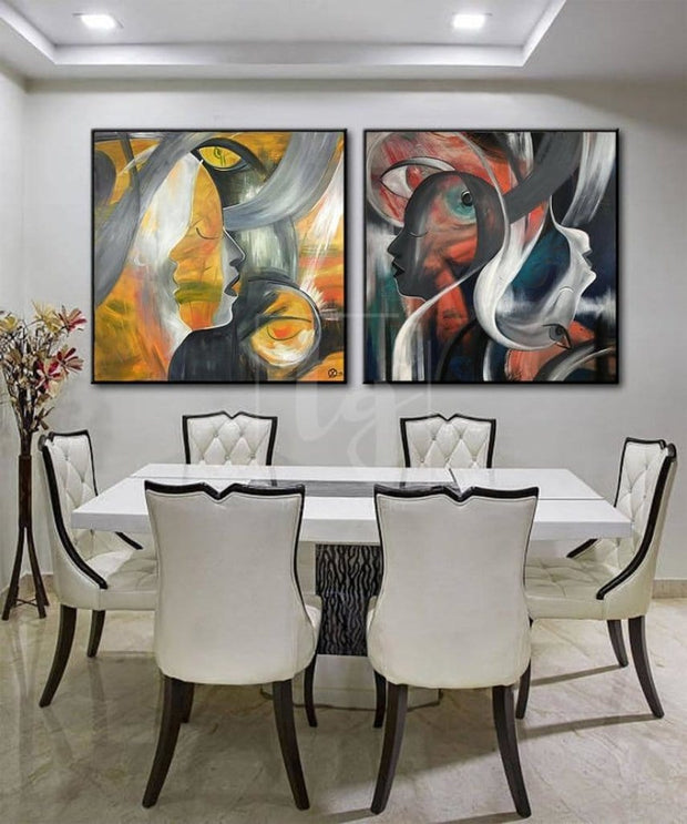 Set Abstract Art Set Of 2 Figurative Painting Portrait Painting Human Art | DIVINE CREATURES - Trend Gallery Art | Original Abstract Paintings