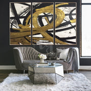 Set of Paintings Oversized Wall Art Canvas Black And White Wall Art Painting Abstract | LOOP OF INFINITY - Trend Gallery Art | Original Abstract Paintings