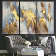 Set Triptych Painting Gold Leaf Original Painting Custom Paintings On Canvas Hand Art | LIGHT MAGIC - Trend Gallery Art | Original Abstract Paintings