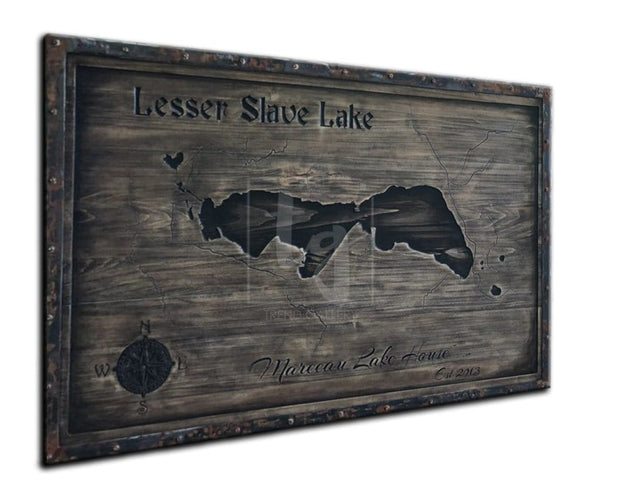 Slave Lake Map Wooden Wall Art Wood Wall Hanging Customized Sign Personalized Gift Engraved Wood Map Wall Decor Solid Metal Frame | WOOD DECOR# 43 - Trend Gallery Art | Original Abstract Paintings
