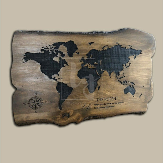 Solid Wood Sign Customized Sign Wood Wall Art World Map Wooden Map Of The World Wood Wall Art Large Custom Wall Hanging Engraved Wood Sign - Trend Gallery Art | Original Abstract Paintings