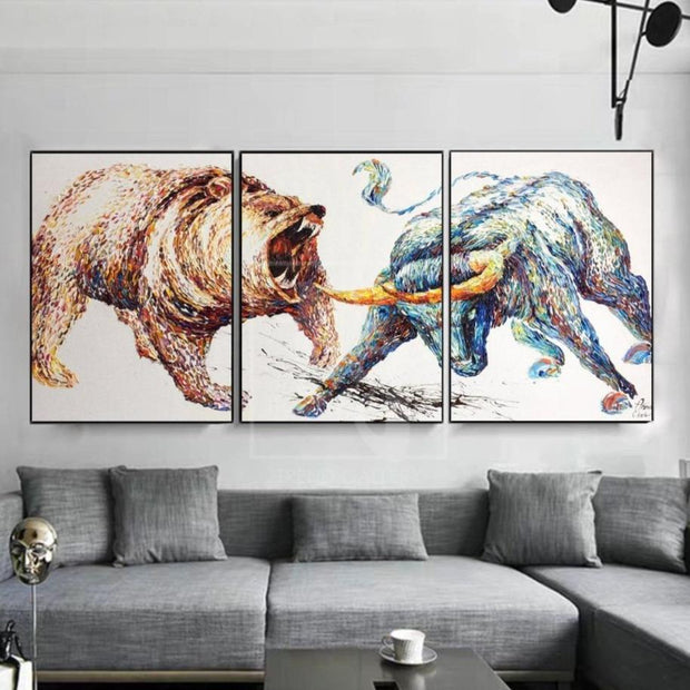 Stock Exchange Painting Set Of 3 Abstract Painting Triptych Grizzly Bear Artwork | BULL VS BEAR