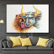Stock Market Painting Bull Painting Bear Painting Stock Trader Art Animal Painting | SENSE OF BENEFIT - Trend Gallery Art | Original Abstract Paintings