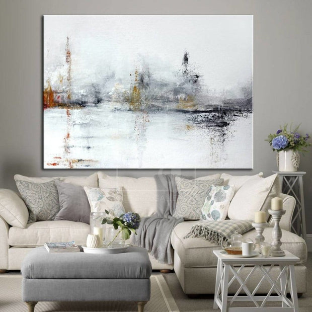 White Abstract Painting Black Painting Texture Art Original Abstract Painting On Canvas | WINTER SLEEP - Trend Gallery Art | Original Abstract Paintings
