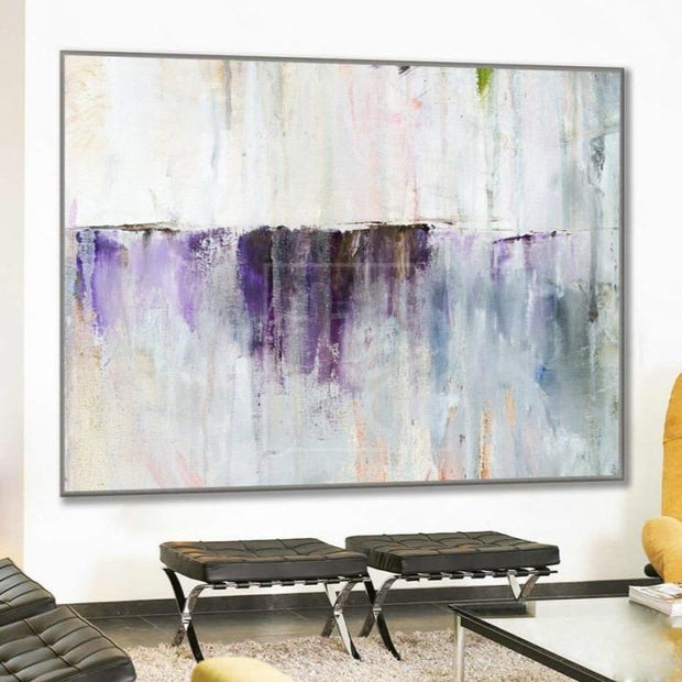 White Abstract Painting Purple Painting Contemporary Art Acrylic Painting | PURPLE WATERFALL - Trend Gallery Art | Original Abstract Paintings
