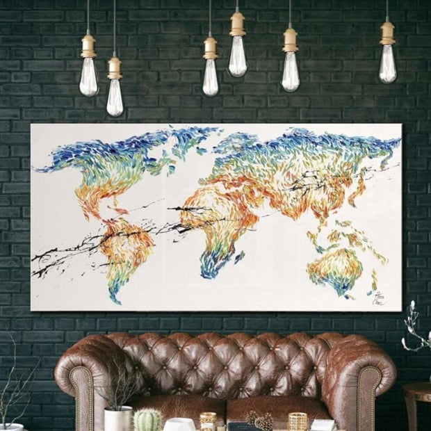 World map canvas Abstract canvas art oil World map wall art | GEOGRAPHY LESSON - Trend Gallery Art | Original Abstract Paintings