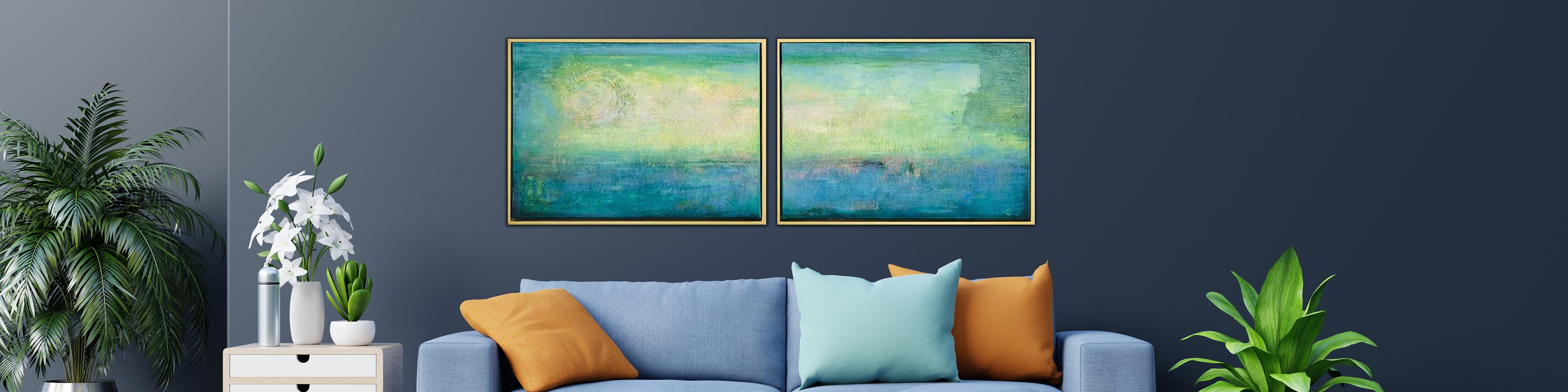 How to decorate a living room with abstract canvas