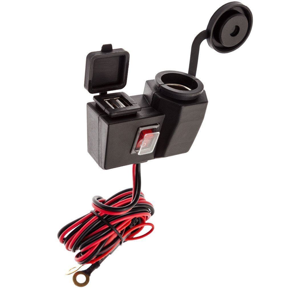 Motorcycle Handlebar Charger Mount 12V + Dual USB Charger - Ultimateaddons
