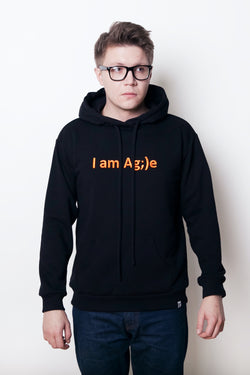 ЧЕРНОЕ ХУДИ I AM AG;)E ORANGE LETTER