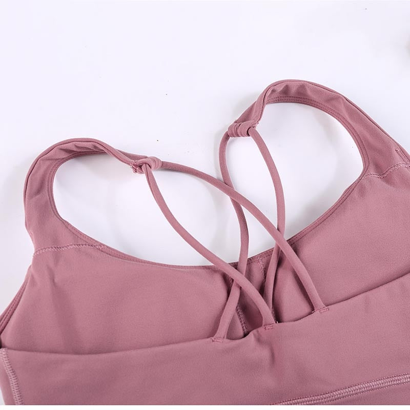 Naked-feel Fabric Double Straps Sport Bra