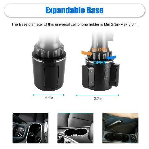 Magnetic Cup Holder Phone Mount Adjustable Height Universal Car Phone Holder