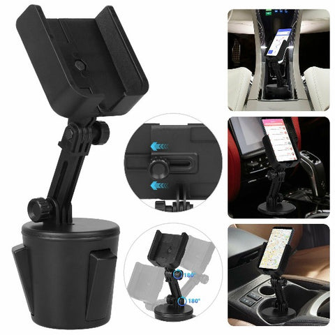 Car Cup Phone Holder Mount Cradle With Adjustable Height